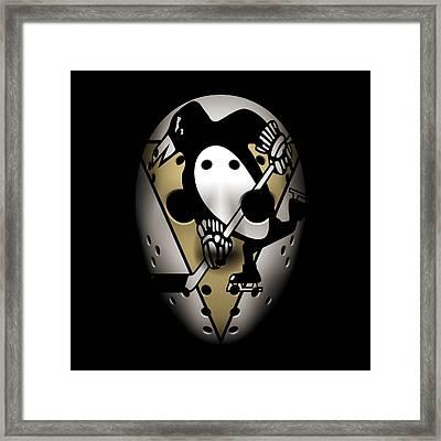 Penguins Goalie Mask Framed Print by Joe Hamilton