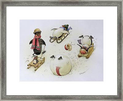 Penguins Sledging Framed Print