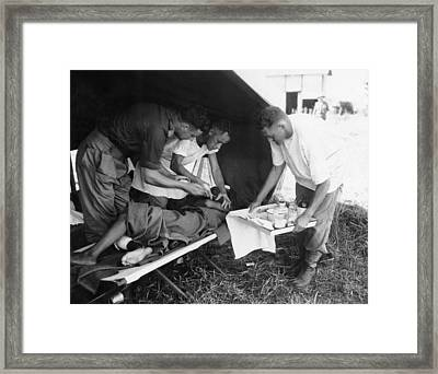 Penicillin Injection, World War II Framed Print by Science Photo Library