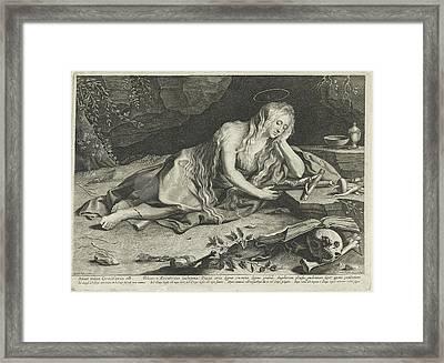 Penitent Mary Magdalene In A Cave, Lucas Vorsterman Framed Print by Lucas Vorsterman (i)