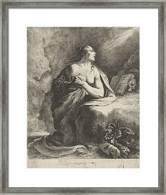 Penitent Mary Magdalene Framed Print by Jan Gerritsz. Van Bronchorst
