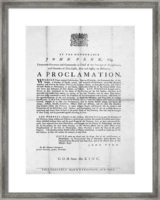 Penn Broadside, 1763 Framed Print by Granger