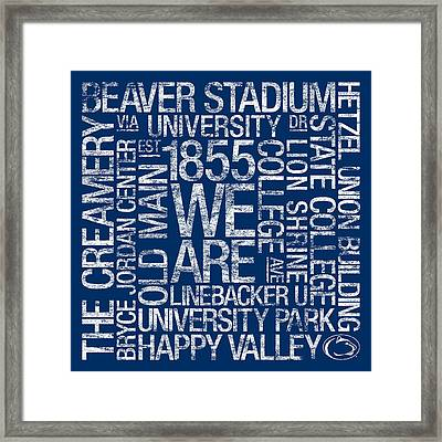 Penn State College Colors Subway Art Framed Print