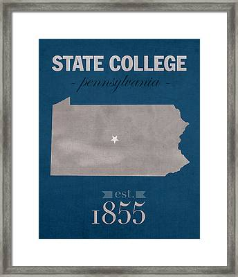 Penn State University Nittany Lions State College Pa College Town State Map Poster Series No 088 Framed Print by Design Turnpike