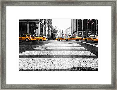 Penn Station Yellow Taxi Framed Print by John Farnan