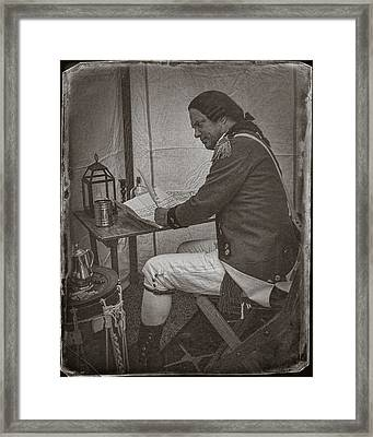 Penning A Letter To King George The Third   Framed Print by Priscilla Burgers