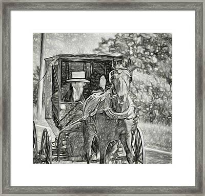 Pennsylvania Amish 2 -  Bw Framed Print by Steve Harrington