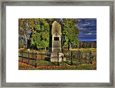 Pennsylvania At Gettysburg - 57th Pa Veteran Volunteer Infantry Sunrise Autumn Steinwehr Avenue Framed Print by Michael Mazaika