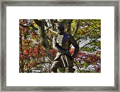 Pennsylvania At Gettysburg - Col Strong Vincent 83rd Pa Volunteer Infantry Close-2a Little Round Top Framed Print by Michael Mazaika