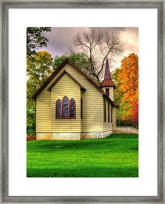 Pennsylvania Country Churches - Heckton Church At Fort Hunter Autumn - Dauphin County Framed Print