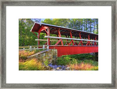Pennsylvania Country Roads - Colvin Covered Bridge Over Shawnee Creek - Autumn Bedford County Framed Print
