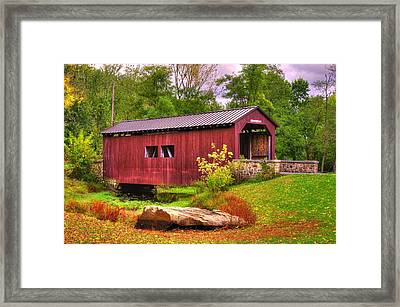 Pennsylvania Country Roads - Everhart Covered Bridge At Fort Hunter - Harrisburg Dauphin County Framed Print