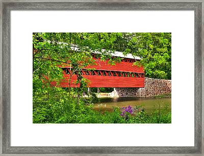 Pennsylvania Country Roads - Sachs Covered Bridge Over Marsh Creek-3b - Shade Of Spring Adams County Framed Print