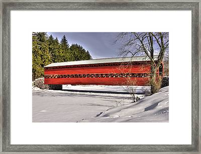 Pennsylvania Country Roads - Sachs Covered Bridge Over Marsh Creek B1 - Adams County Winter Framed Print by Michael Mazaika