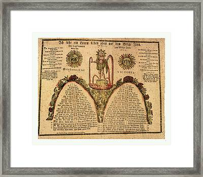 Pennsylvania German Fraktur Labeled With Verse Framed Print by English School