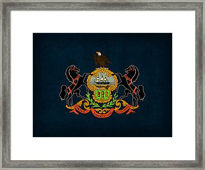 Pennsylvania State Flag Art On Worn Canvas Framed Print by Design Turnpike