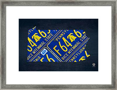 Pennsylvania State License Plate Map Framed Print