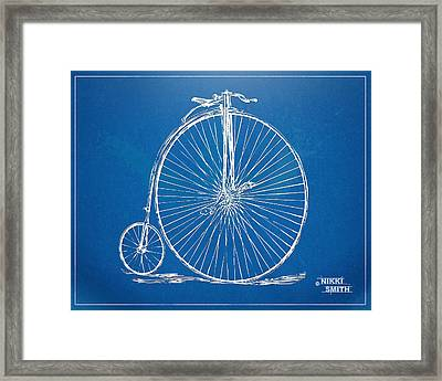 Penny-farthing 1867 High Wheeler Bicycle Blueprint Framed Print by Nikki Marie Smith
