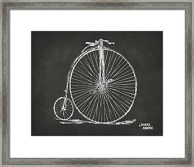 Penny-farthing 1867 High Wheeler Bicycle Patent - Gray Framed Print by Nikki Marie Smith