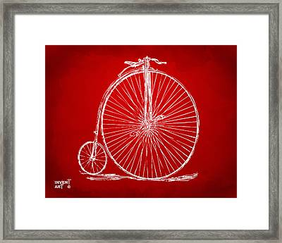 Penny-farthing 1867 High Wheeler Bicycle Patent Red Framed Print by Nikki Marie Smith