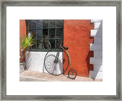 Penny-farthing In Front Of Bike Shop Framed Print by Susan Savad