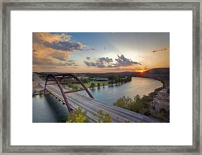 Pennybacker Bridge At Sunset Framed Print by Rob Greebon
