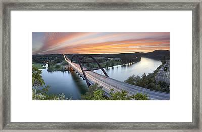 Pennybacker Bridge Panorama Austin Texas 3 Framed Print by Rob Greebon