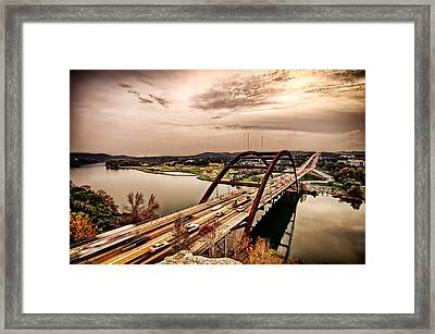 Pennybacker Bridge Sunset Framed Print