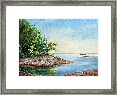 Framed Print featuring the painting Penobscot Inlet by Roger Rockefeller