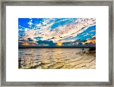 Framed Print featuring the photograph Pensacola Bay Florida-golden Sun Rays Glorious Sunset Light by Eszra Tanner