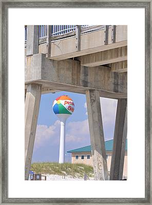 Pensacola Beach Ball And Pier Framed Print