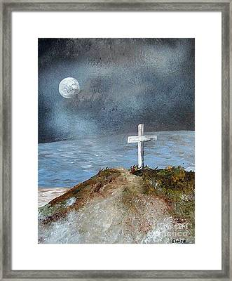 Framed Print featuring the painting Pensacola Beach By The Light Of The Moon by Eloise Schneider