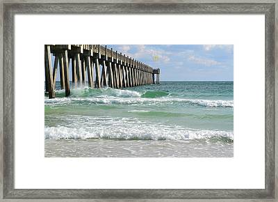Pensacola Beach Pier Framed Print by Shirlee Mikel Vos