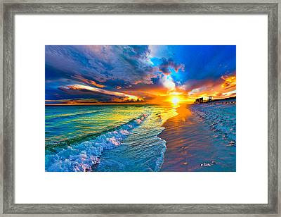 Pensacola Florida-beach Waves-sun Burst Shoreline Framed Print