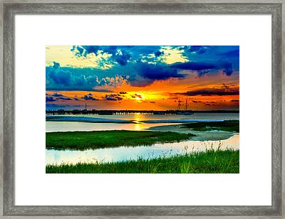 Framed Print featuring the photograph Pensacola Florida Harbor-radiant Red Sunset-green Grass by Eszra Tanner