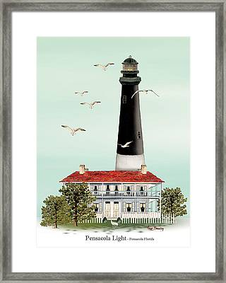 Pensacola Light House Framed Print by Anne Beverley-Stamps