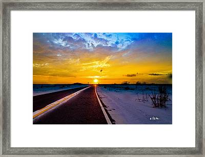 Pensacola Navarre Florida National Sea Shore-driving Into Sunset Framed Print