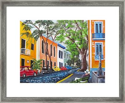 Pensando En El Viejo San Juan Framed Print by Luis F Rodriguez