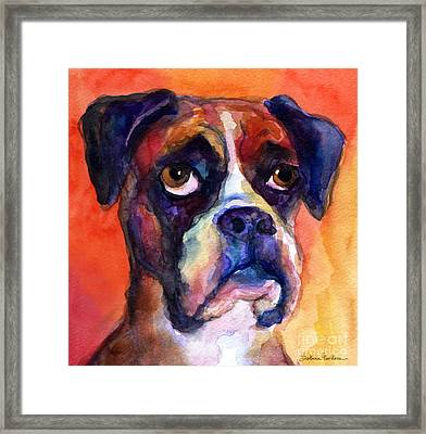 pensive Boxer Dog pop art painting Framed Print