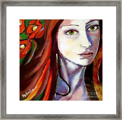 Framed Print featuring the painting Pensive Lady by Helena Wierzbicki