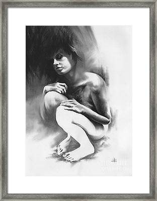Framed Print featuring the drawing Pensive by Paul Davenport