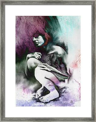 Framed Print featuring the drawing Pensive With Texture by Paul Davenport