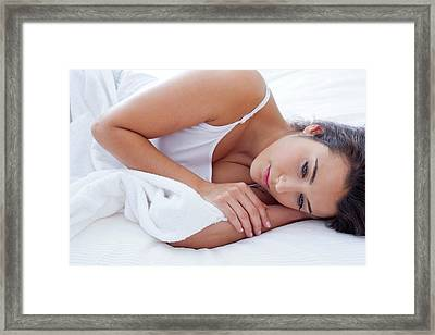 Pensive Woman Lying Awake In Bed Framed Print