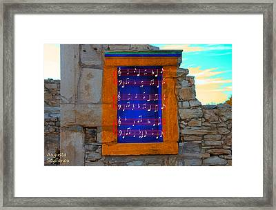 Pentagram Window At Apollo Framed Print by Augusta Stylianou