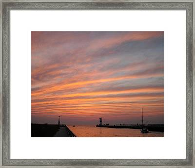 Pentwater Pier Lighthouse Framed Print