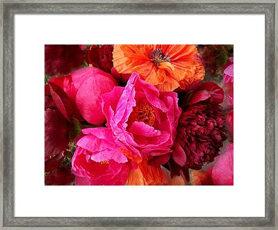 Peonies And Poppies Vibrant Bouquet Framed Print by Rebecca Overton