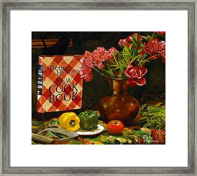 Framed Print featuring the painting Peonies And Recipes by Rick Fitzsimons