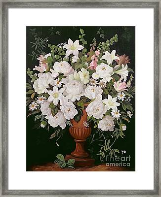 Peonies And Wisteria Framed Print by Lizzie Riches