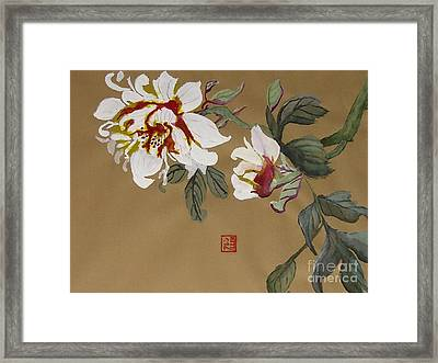 Peonies Chinese Watercolor Art Framed Print