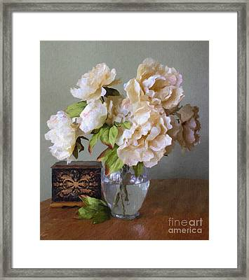 Peonies In Glass Vase Framed Print